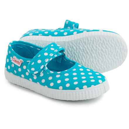 Cienta Polka-Dot Mary Jane Shoes (For Toddlers and Little Girls) in Turquoise - Closeouts