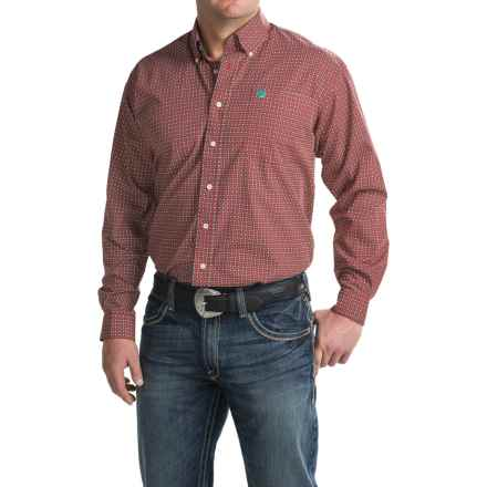 Cinch Button-Up Woven Shirt - Long Sleeve (For Men) in Red - Closeouts