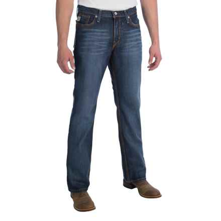 Cinch Ian Mid-Rise Slim Jeans - Bootcut (For Men) in Blue/Brown Stitch - 2nds