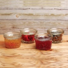 Circle Glass 12 oz. Jam Jars - Set of 4 in Rooster - Overstock