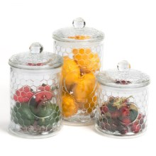 Circle Glass Bee Canisters - Set of 3 in Clear - Overstock