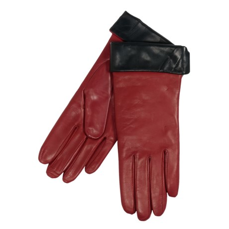 Cire by Grandoe Amber Contrast Gloves - Sheepskin Leather, Cashmere Lining (For Women) in Red/Black