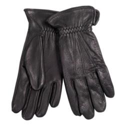 Cire by Grandoe Black Hawk Deerskin Gloves - Fleece Lined (For Men) in Black