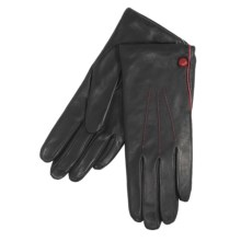 Cire by Grandoe Chic Gloves - Premium Sheepskin Leather (For Women) in Black/Deep Red - Closeouts