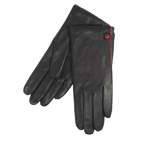 Cire by Grandoe Chic Gloves - Premium Sheepskin Leather (For Women) in Black/Deep Red