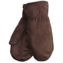 Cire by Grandoe Cozy Microsuede Lamb Mittens (For Women) in Acorn - Closeouts