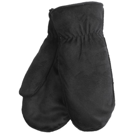 Cire by Grandoe Cozy Microsuede Lamb Mittens (For Women) in Black