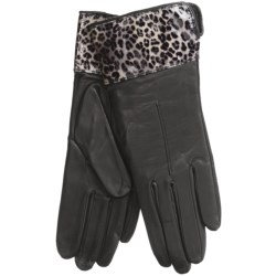 Cire by Grandoe Dali Leather Gloves - Lambswool-Cashmere Lining (For Women) in Black