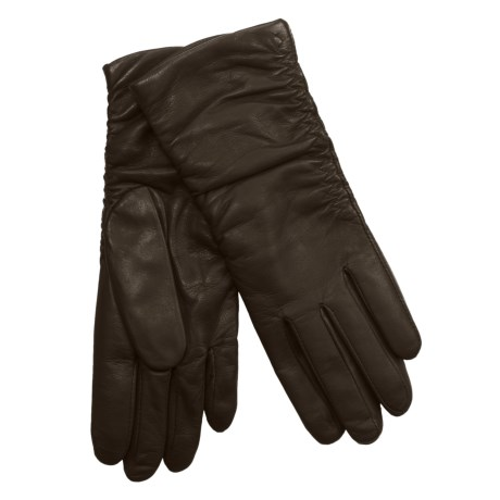 Cire by Grandoe Ginger Gloves with Silk Lining - Lambskin (For Women) in Brown