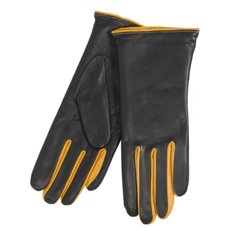 Cire by Grandoe Lautrec Gloves - Premium Sheepskin Leather (For Women) in Black/Sun