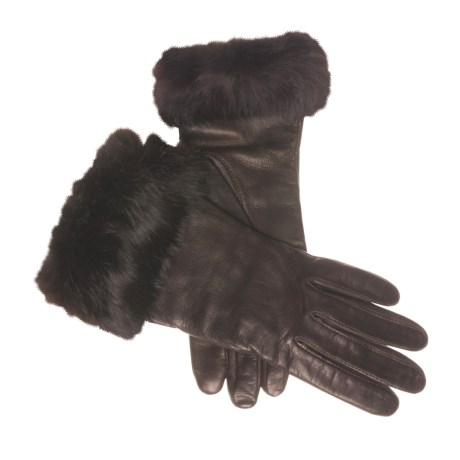 Cire by Grandoe Napoli Gloves - Sheepskin, Rabbit Fur Cuffs (For Women) in Brown/Brown
