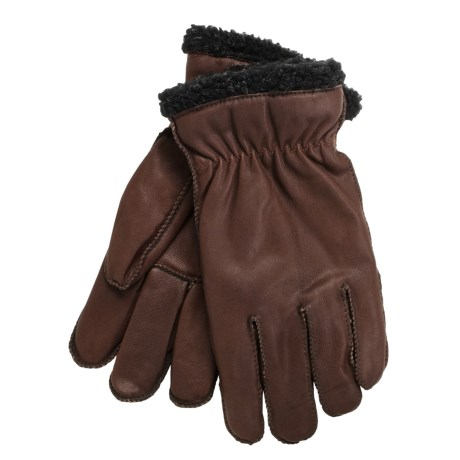 Cire by Grandoe Pilot II Gloves - Sheepskin Leather, Fleece Lining (For Men) in Brown/Black