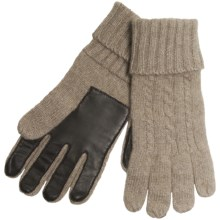Cire by Grandoe Preppie Gloves - Cashmere Knit, Sheepskin Leather Palm (For Men) in Natural/Brown - Closeouts