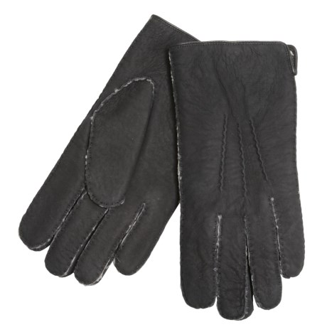 Cire by Grandoe Redford Gloves - Curly Lamb Shearling (For Men) in Black