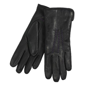 Cire by Grandoe Traveler Gloves - Premium Sheepskin Leather (For Women) in Black/Violet
