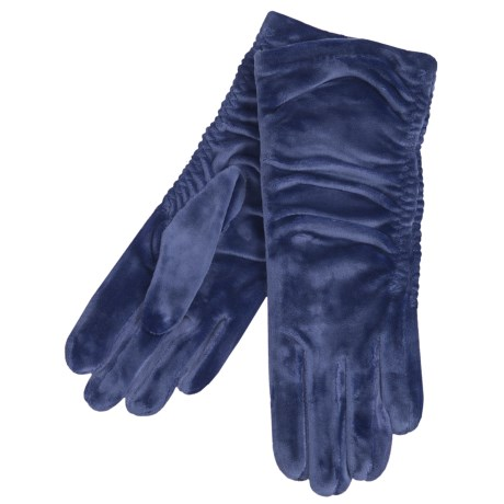 Cire by Grandoe Velvet Touch Gloves - Velvet Velour (For Women) in Navy