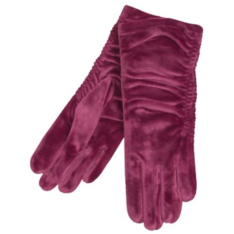 Cire by Grandoe Velvet Touch Gloves - Velvet Velour (For Women) in Red