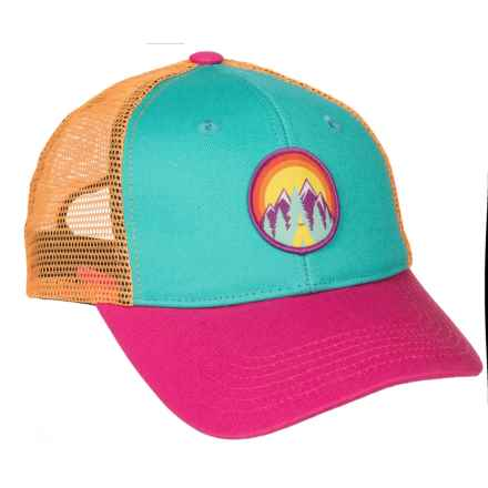 Cirque Tented Camp Trucker Hat (For Youth) in Teal/Pink/Orange - Closeouts
