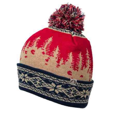 Cirque Tree Scene Beanie in Red/Cream/Blue - Closeouts