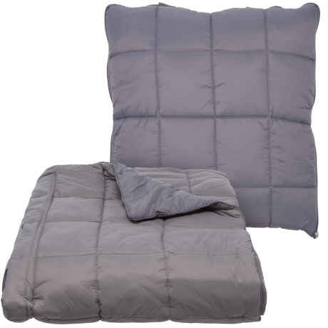 """City Chic Outdoor Convertible Travel Pillow/Throw Blanket - 50x60"""" in Grey"""