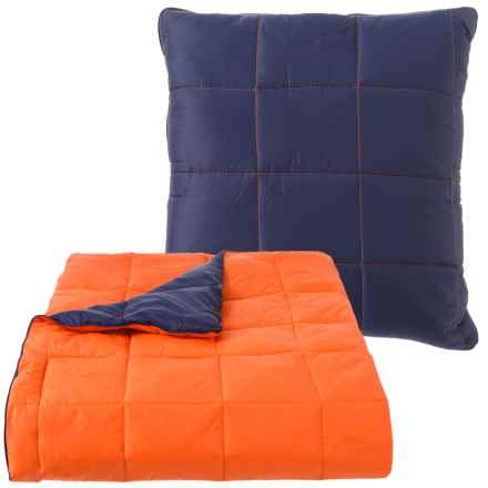 """City Chic Outdoor Convertible Travel Pillow/Throw Blanket - 50x60"""" in Navy/Orange - Closeouts"""
