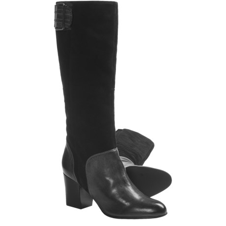 CK Jeans Gemma Tall Leather Boots (For Women) in Dark Brown