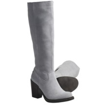 CK Jeans Hollyann Suede Boots - Knee High (For Women) in Light Grey - Closeouts
