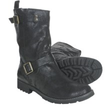 CK Jeans Theo Boots - Leather (For Men) in Black Cracked Suede - Closeouts