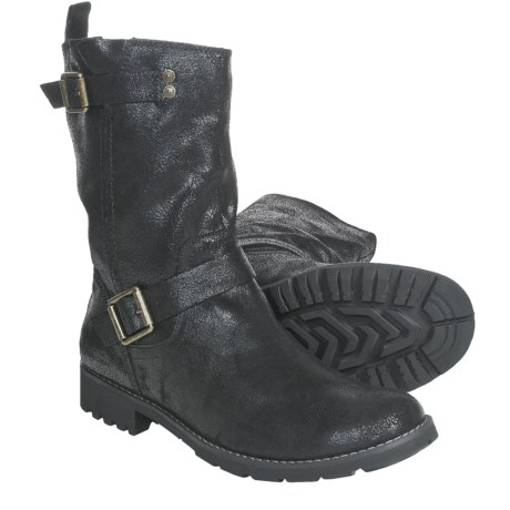 CK Jeans Theo Boots - Leather (For Men) in Black Cracked Suede