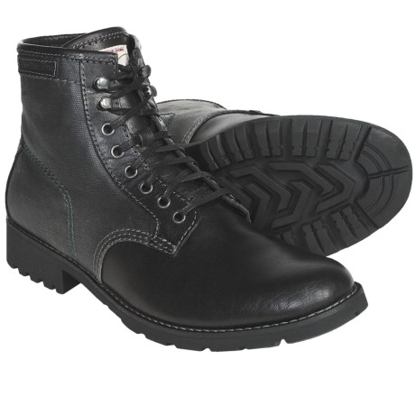 CK Jeans Trevor Boots - Lace-Ups (For Men) in Black/Black Canvas/Leather