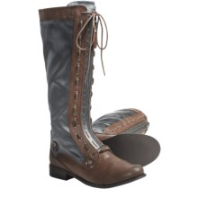 CK Jeans Zoe Tall Boots (For Women) in Cognac/Steel Grey - Closeouts