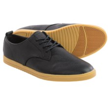 Clae Ellington Leather Lace-Up Shoes (For Men) in Black Tumbled Leather - Closeouts
