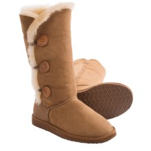 Clarks 3-Button Tall Shearling Boots (For Women) in Wicker - Closeouts