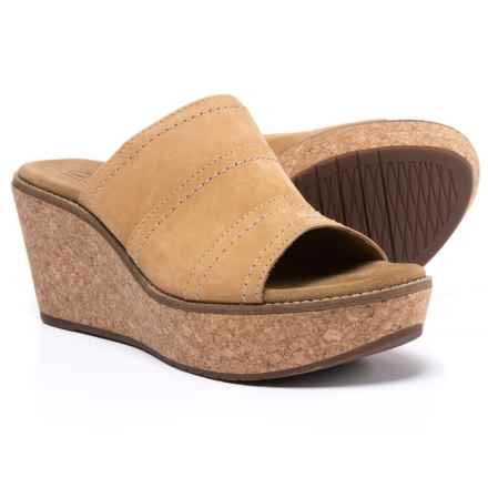 Clarks Aisley Lily Wedge Sandals - Suede (For Women) in Light Tan - Closeouts