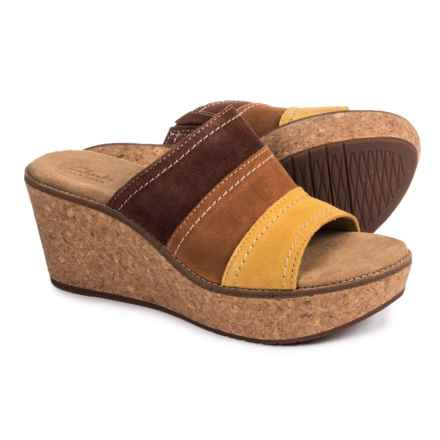 Clarks Aisley Lily Wedge Sandals - Suede (For Women) in Tan Combination - Closeouts