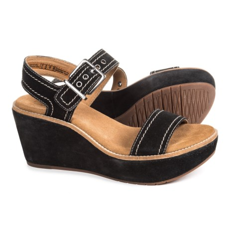 Clarks Aisley Orchid Wedge Sandals - Suede (For Women) in Black Suede