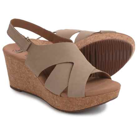 Clarks Annadel Fareda Wedge Sandals - Nubuck (For Women) in Sand - Closeouts