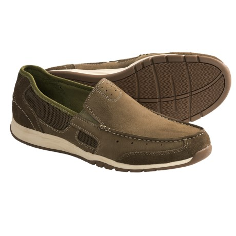 Clarks Armada Spanish Shoes - Mesh-Leather, Slip-Ons (For Men) in Olive Nubuck
