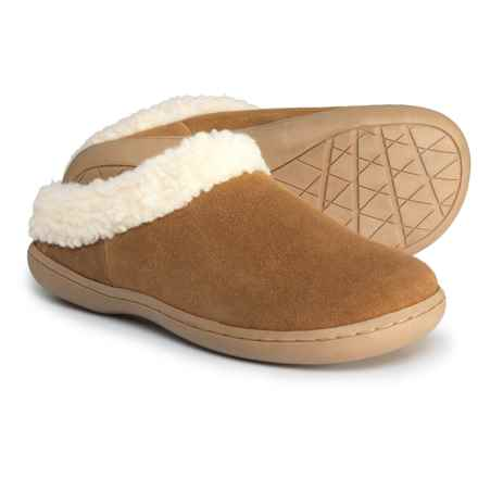 Clarks Berber-Trimmed Suede Slippers (For Women) in Cognac - Closeouts
