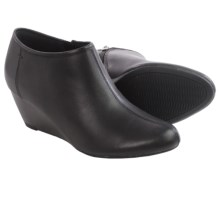 Clarks Brielle Abby Ankle Boots - Leather, Wedge Heel (For Women) in Black Leather - Closeouts