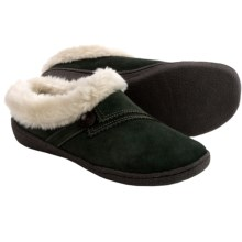 Clarks Button Clog Slippers - Suede, Faux-Fur Lined (For Women) in Olive - Closeouts