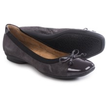 Clarks Candra Glow Ballet Flats - Leather (For Women) in Purple Grey Suede - Closeouts