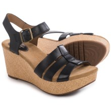 Clarks Caslynn Harp Wedge Sandals - Leather (For Women) in Black Leather - Closeouts