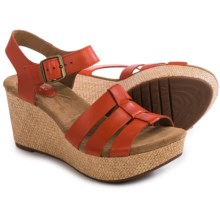 Clarks Caslynn Harp Wedge Sandals - Leather (For Women) in Grenadine Leather - Closeouts