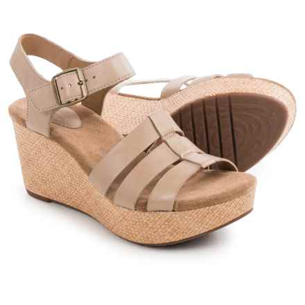 Clarks Caslynn Harp Wedge Sandals - Leather (For Women) in Sand Leather - Closeouts