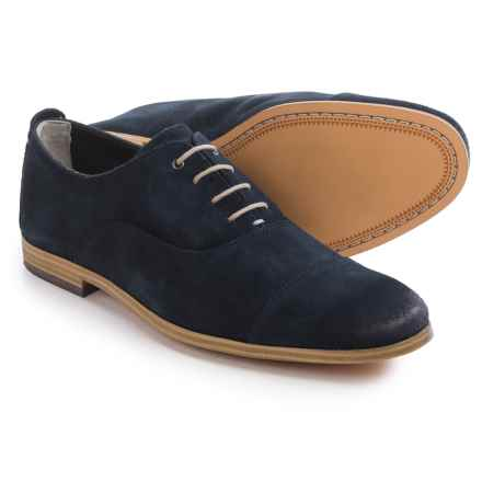 Clarks Chinley Cap-Toe Oxford Shoes - Leather (For Men) in Dark Blue Suede - Closeouts