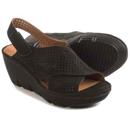 Clarks Clarene Award Wedge Sandals - Nubuck (For Women) in Black Nubuck - Closeouts