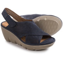 Clarks Clarene Award Wedge Sandals - Nubuck (For Women) in Navy Nubuck - Closeouts