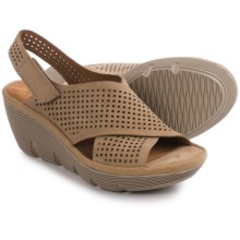 Clarks Clarene Award Wedge Sandals - Nubuck (For Women) in Sand Nubuck - Closeouts