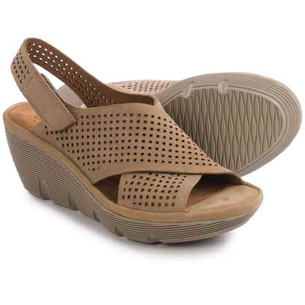 Clarks Clarene Award Wedge Sandals - Nubuck (For Women) in Sand Nubuck - Closeouts